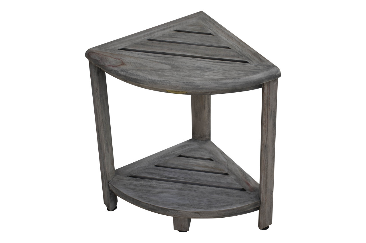"CoastalVogue SnazzyCorner 18"" Teak Wood Fully Assembled Corner Shower Bench with Shelf in Gray Coquina Finish"