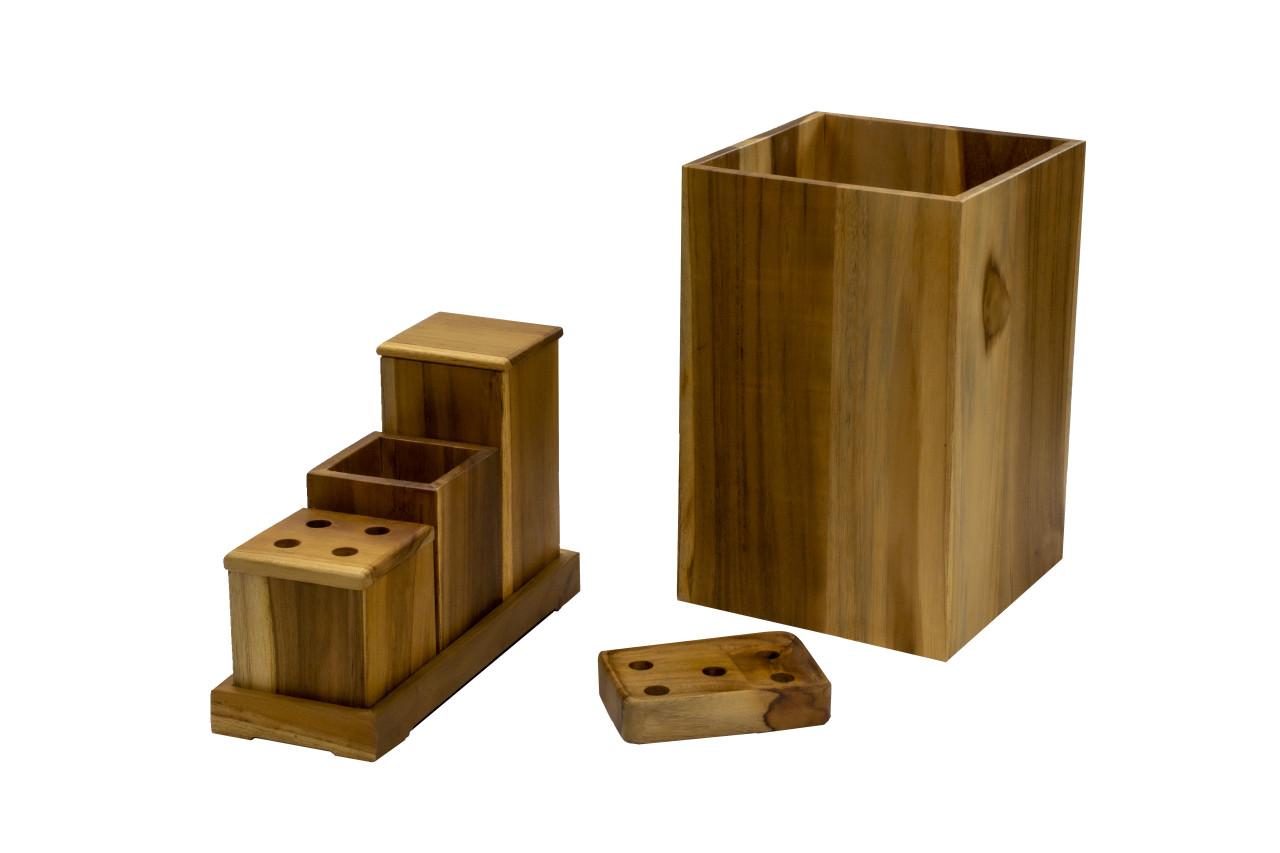 EcoDecors Eleganto 9 Piece Teak Wood Fully Assembled Bathroom Amenities Set in EarthyTeak Finish