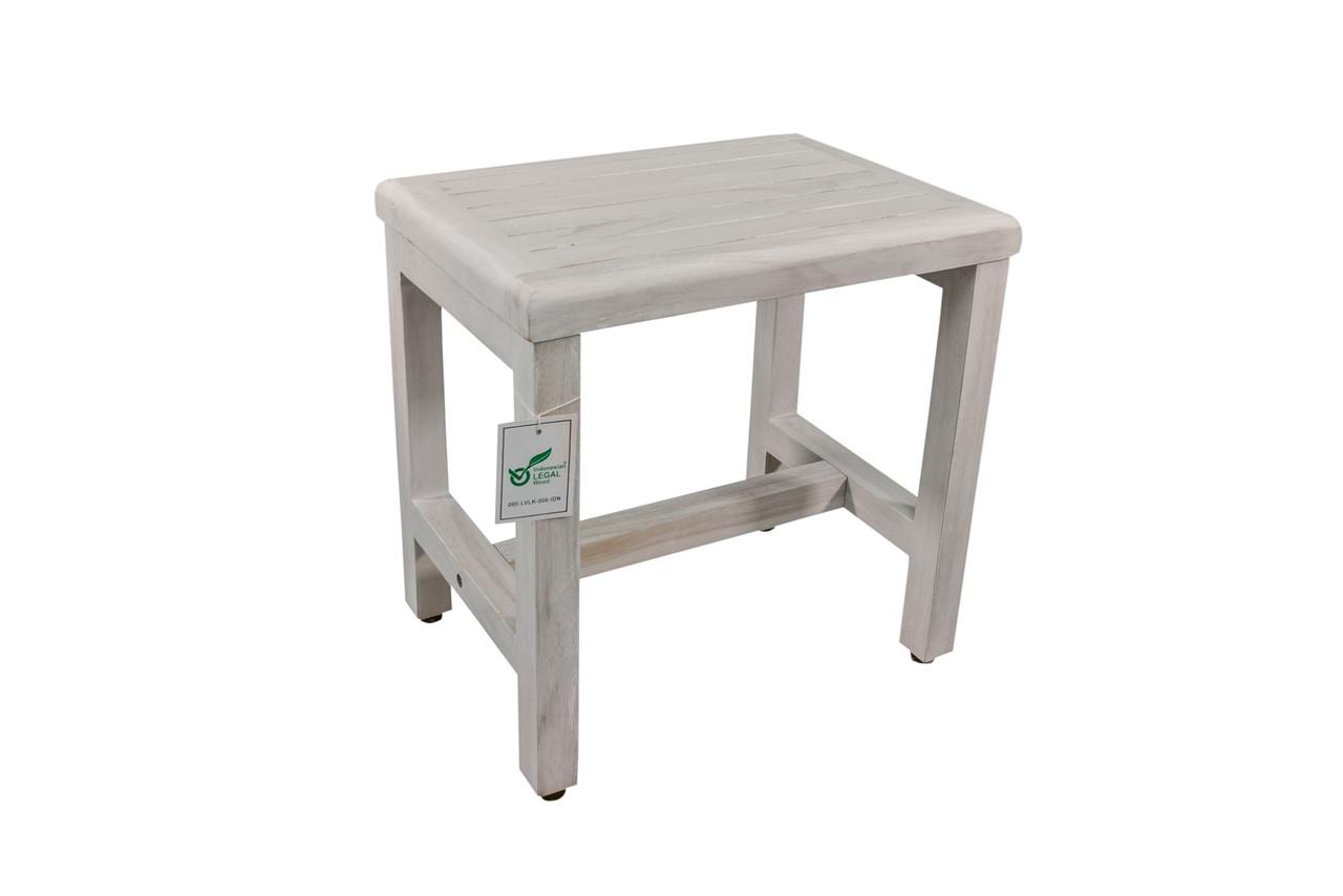 """CoastalVogue Eleganto 18"""" Teak Wood Shower Bench in Coastal Off White Finish"""