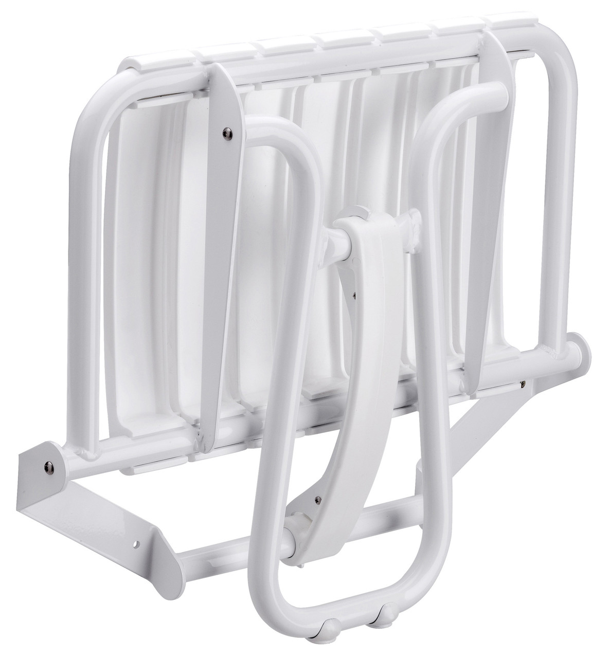 """23"""" Eleganto White Foldaway Wall Mount handicap Shower Seat with Integrated Support Stand"""