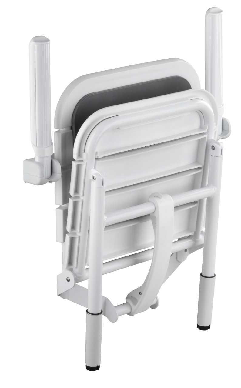 Comfortique adjustable height wall mounted foldaway shower chair & matching back rest and hinged arms
