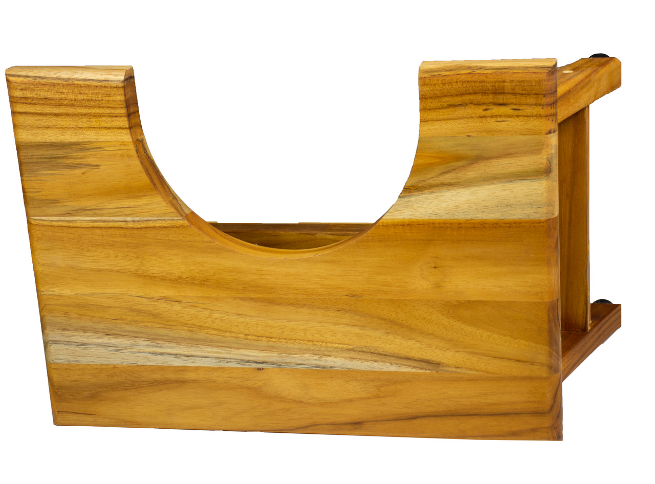 "EcoDecors SerenityPoo 8"" High Toilet Stool Teak Wood Shower Bench in EarthyTeak Finish"