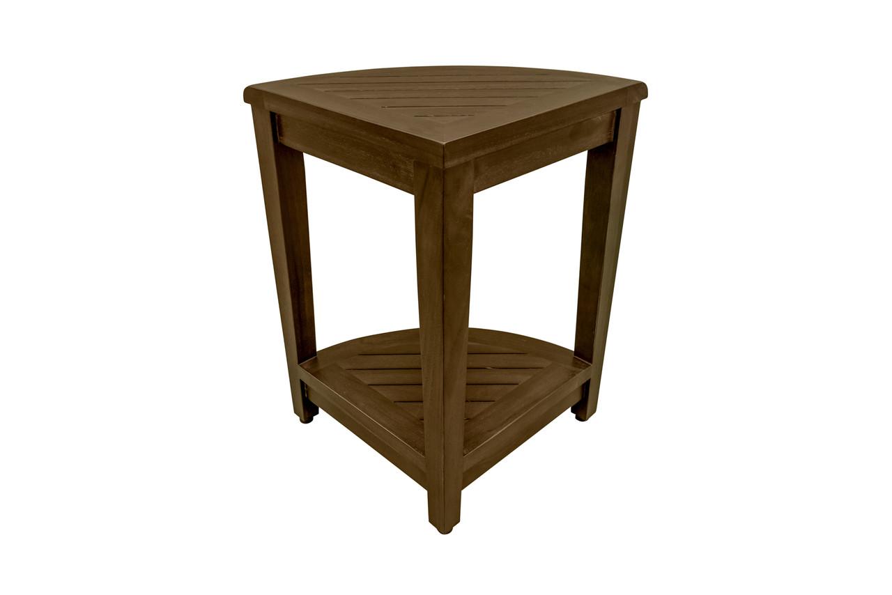 "DecoTeak SnazzyCorner  18"" Teak Wood Fully Assembled Wide Corner Shower Bench with Shelf in Woodland Brown Finish"