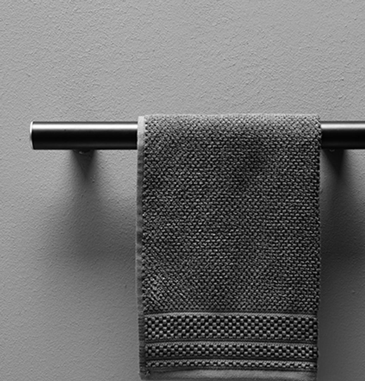 "15.7"" Eleganto Matte Black ADA Compliant Designer Grab Bars Towel Rack"
