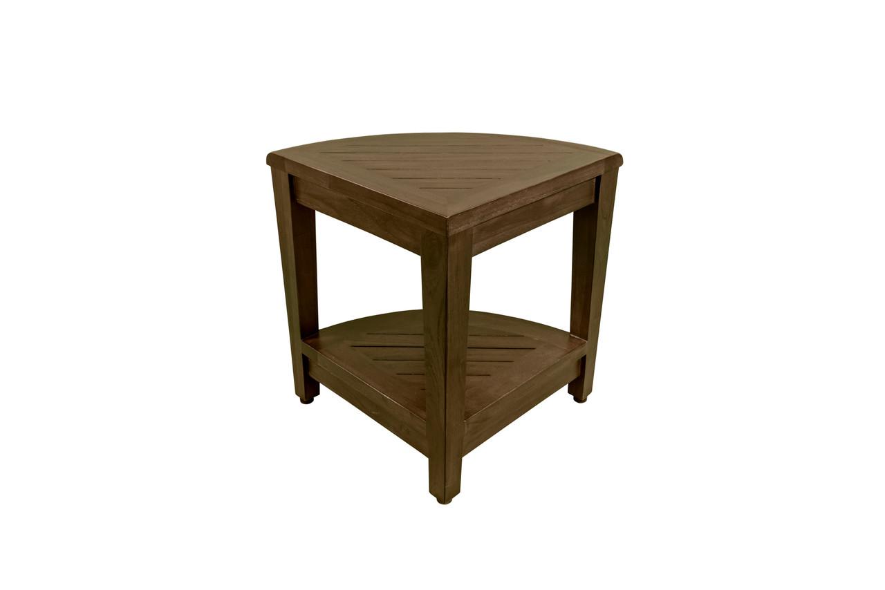 "DecoTeak SnazzyCorner 24"" Teak Wood Fully Assembled Tall Corner Shower Bench with Shelf in Woodland Brown Finish"
