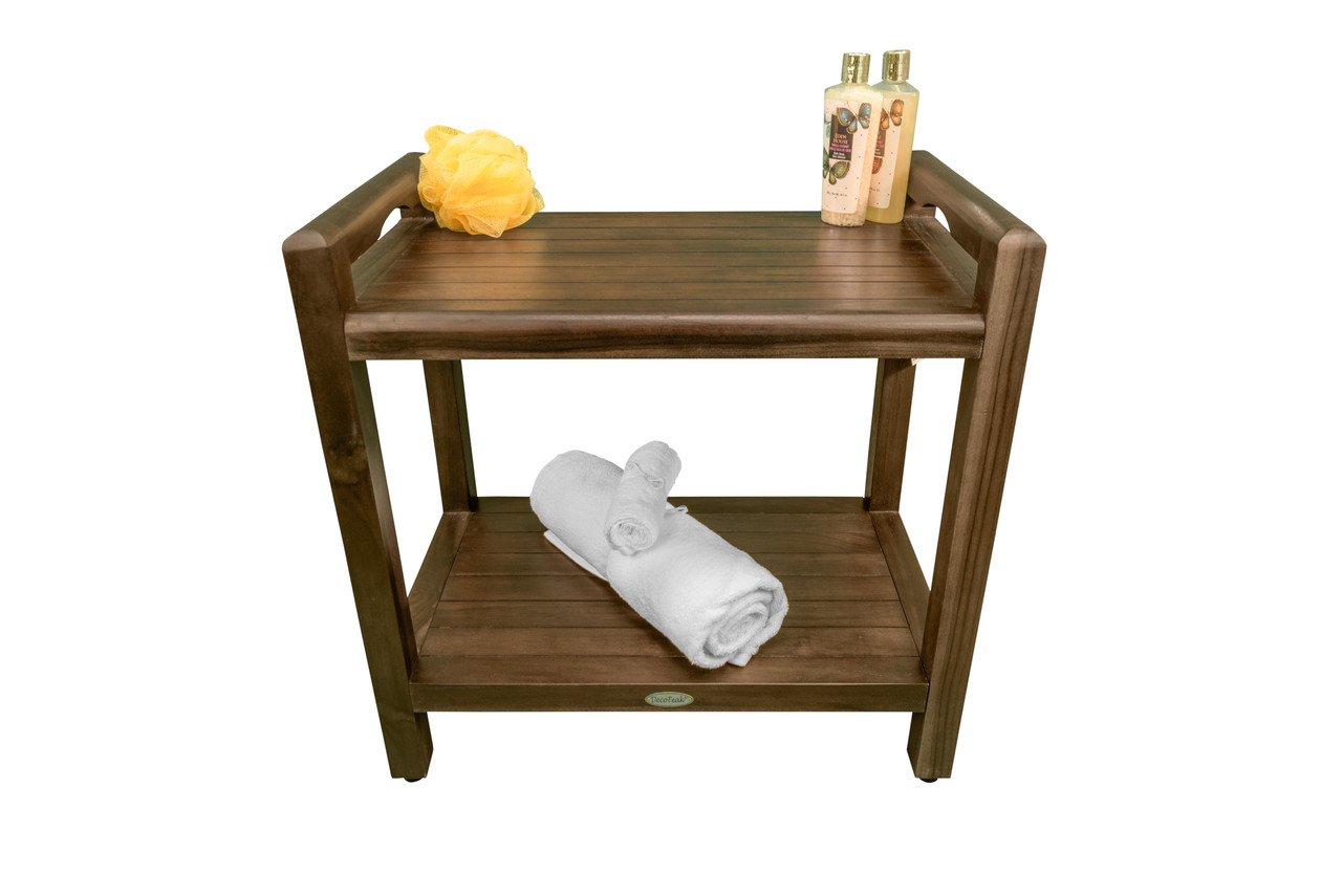 """DecoTeak Eleganto 20"""" Teak Wood Shower Bench with LiftAide Arms and Shelf in Woodland Brown Finish"""