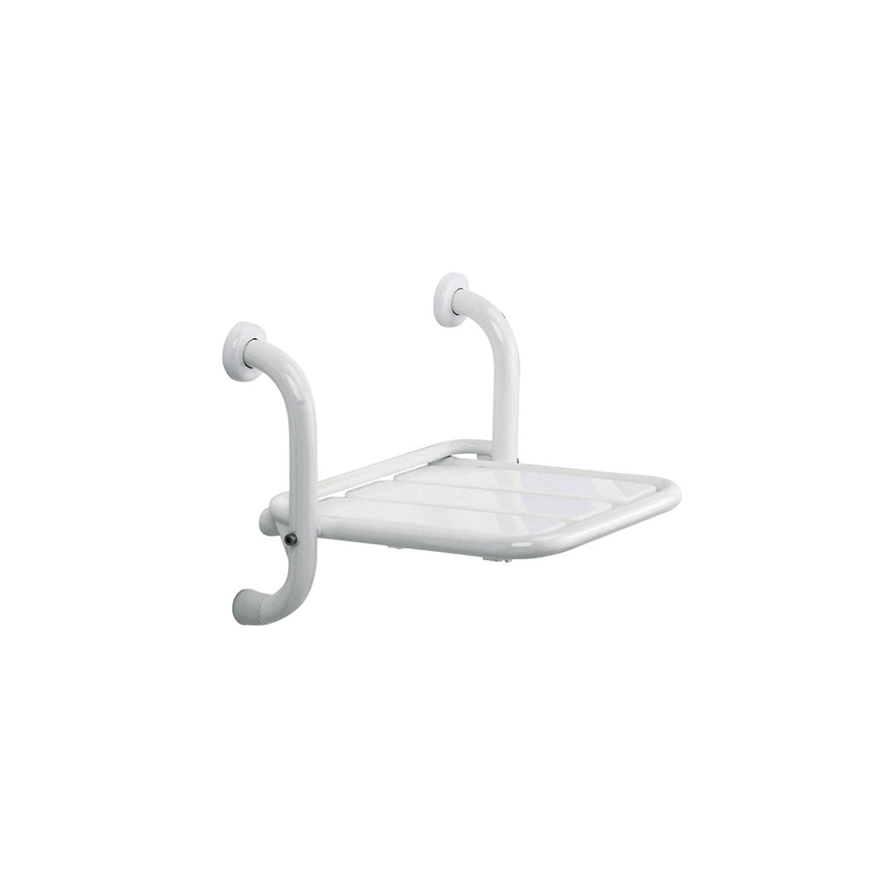 ADA Comliant White Stainless Steel Folding Shower Seat, Wall Mount Shower Chair 15.6 x 13.7 Inches Polyurethane Coated
