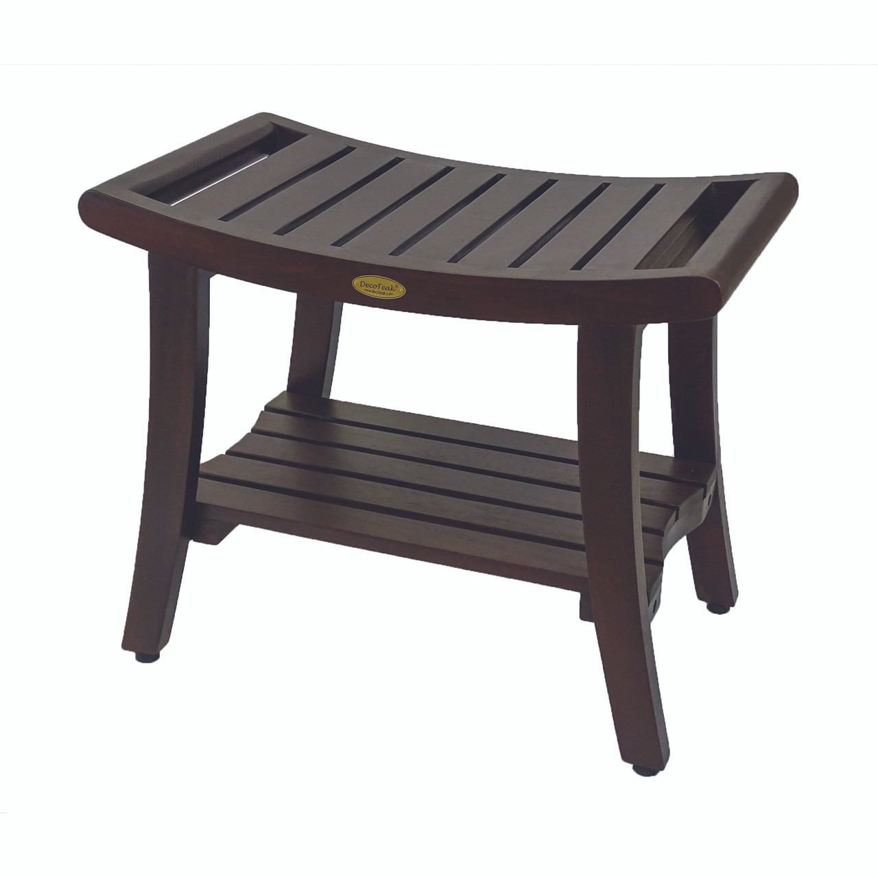 Decoteak Harmony 24 Inch Teak Shower Bench With Shelf And Liftaide Arms