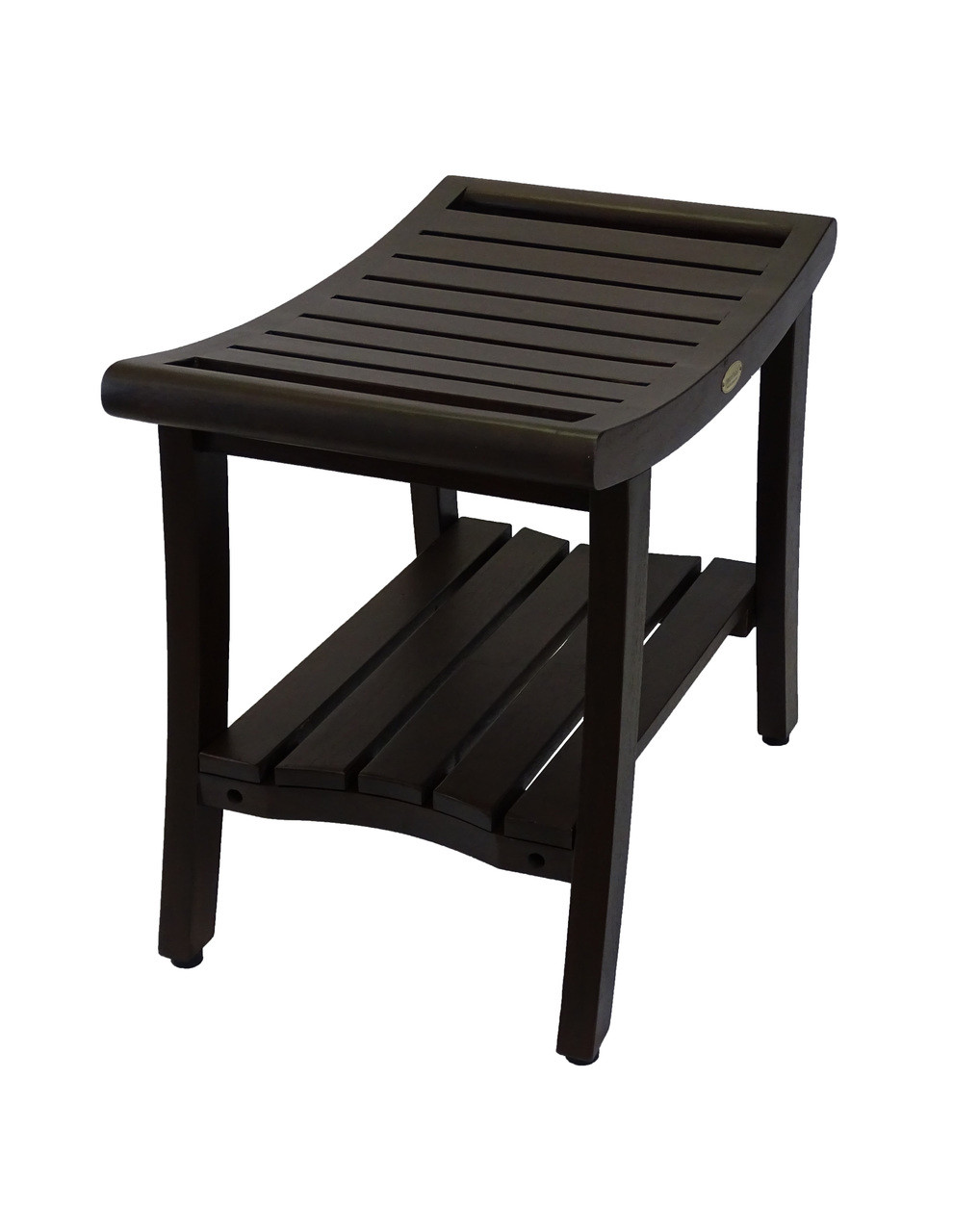 """DecoTeak Harmony 24"""" Teak Wood Shower Bench with Shelf and LiftAide Arms in Woodland Brown Finish"""