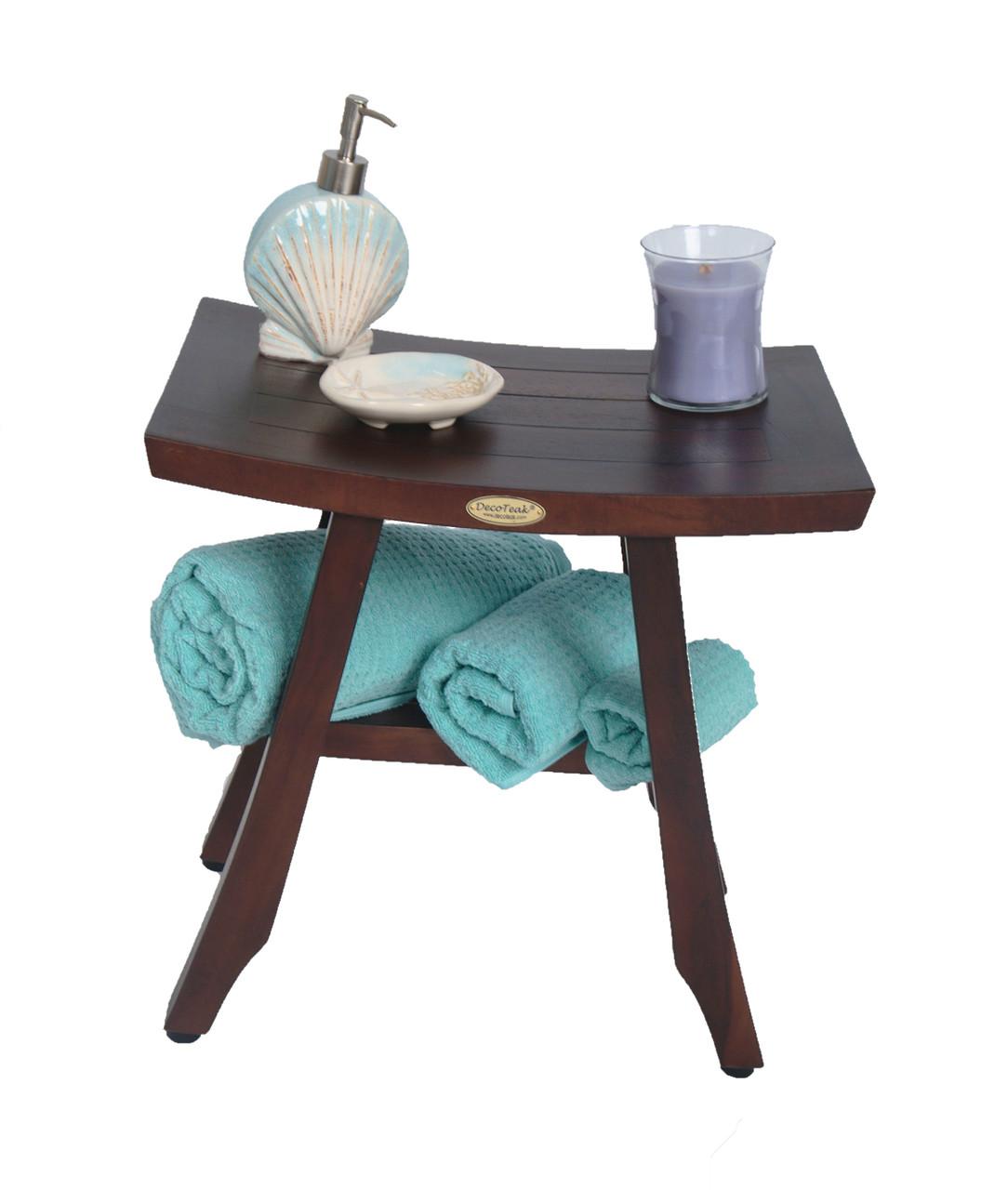 "DecoTeak Satori 18"" Teak Wood Shower Bench in Woodland Brown Finish"