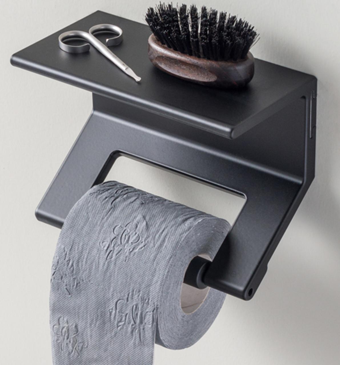 Duality™ Black Hybrid™ Toilet Roll Holder with Shelf