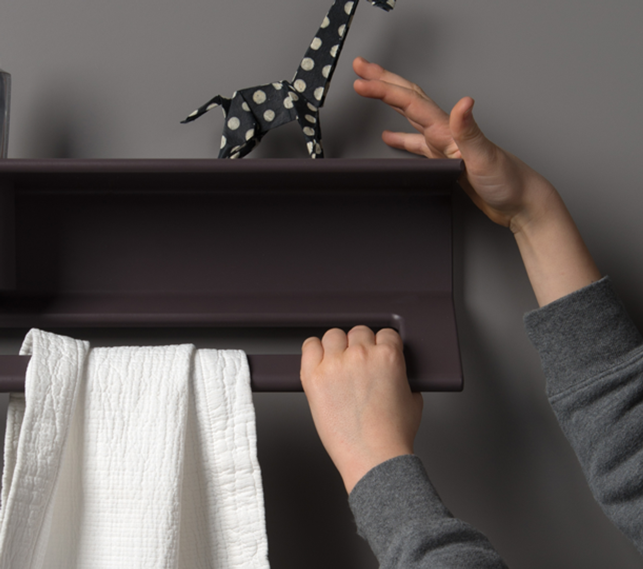 Duality™ Gray Purple Hybrid™ Floating Shelf With Towel Holder & Grab Bar