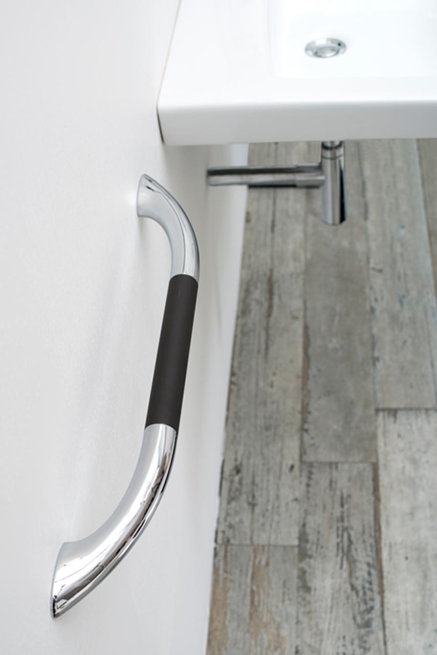 Chroma Silver Aluminum with Black Soft Grip Grab Bar