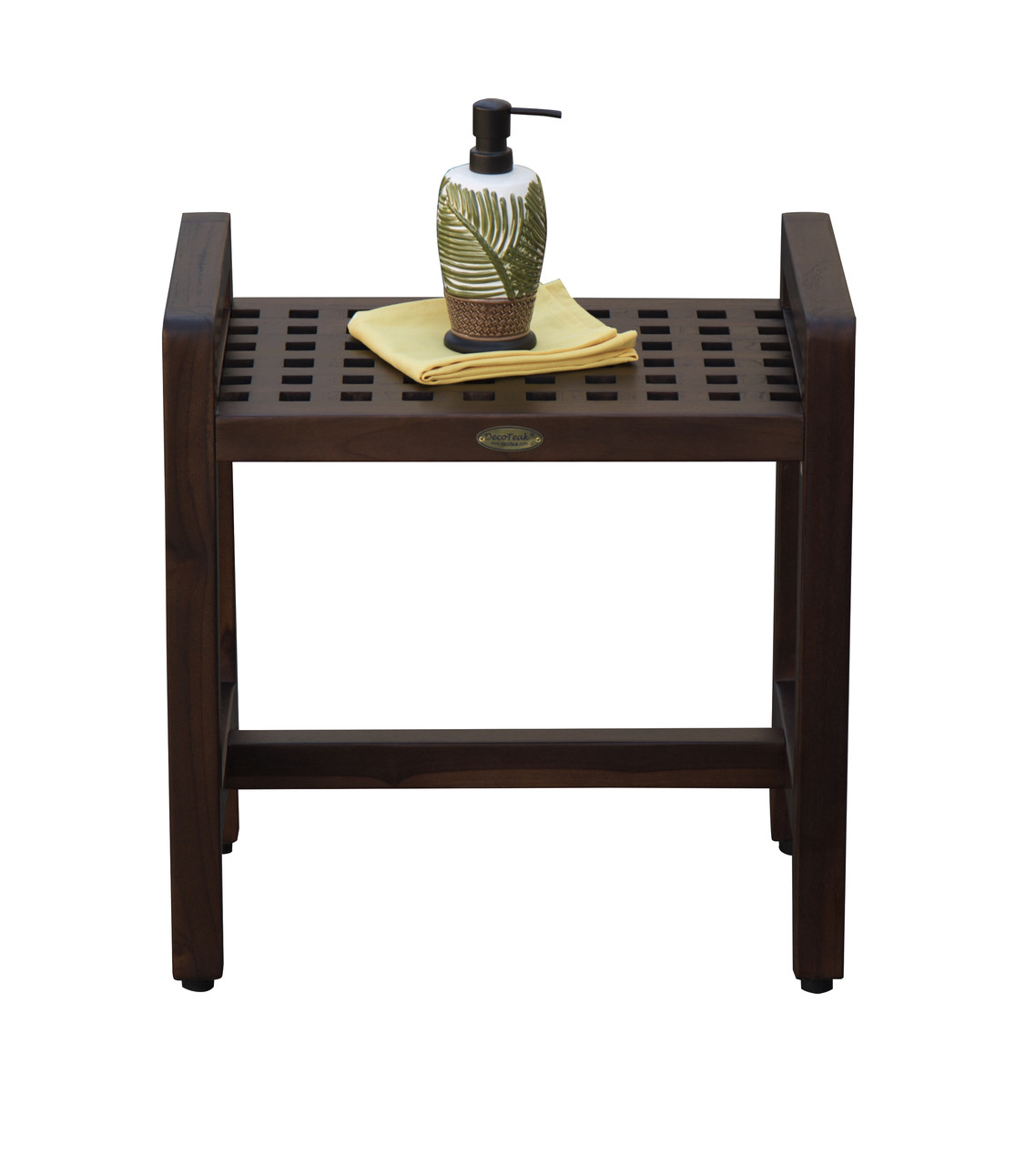 """DecoTeak Espalier 20"""" Teak Wood Shower Bench with LiftAide Arms in Woodland Brown Finish"""