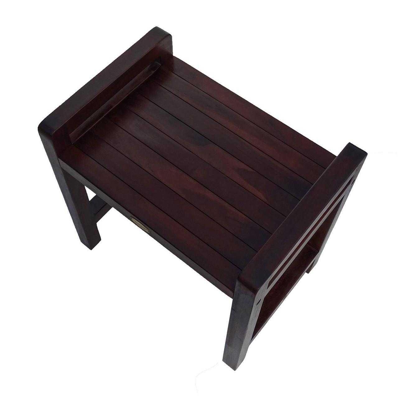 "DecoTeak Eleganto 20"" Teak Wood Shower Bench with LiftAide Arms in Woodland Brown Finish"