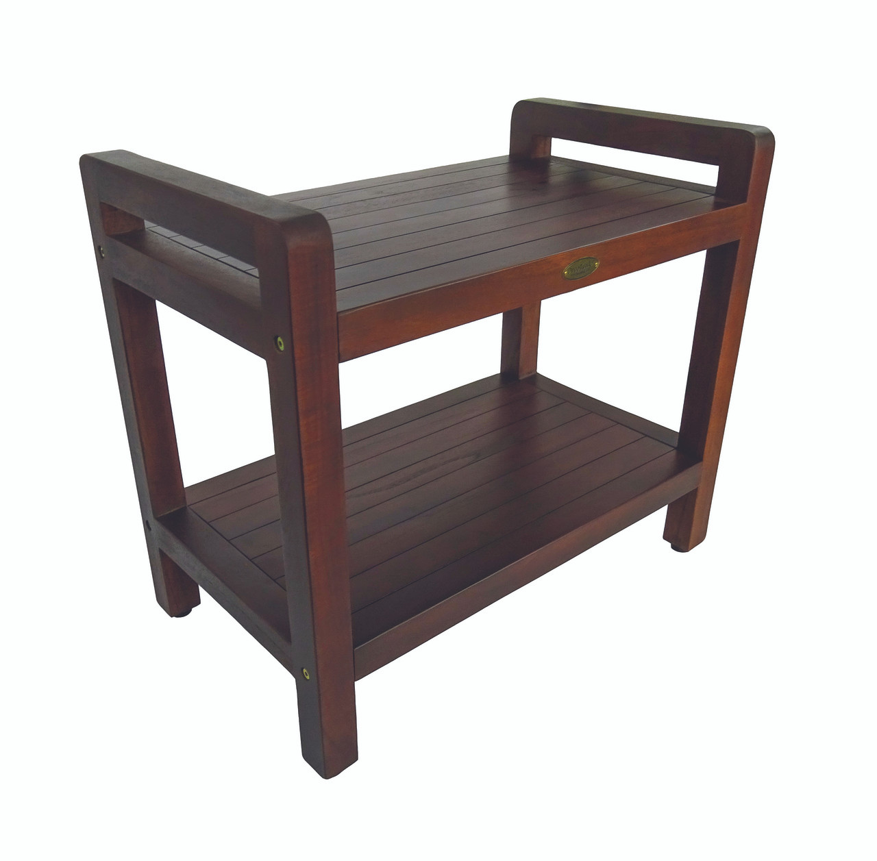 Eleganto 24 Inch Teak Shower Bench With Shelf And Liftaide Arms