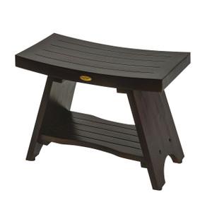DecoTeak Serenity™ 24 inch Eastern Style Teak Shower Bench With Shelf