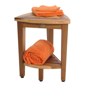EcoDecors EarthyTeak Compact Oasis™ 18 inch Teak Corner Shower Bench With Shelf- Shower Sitting, Storage, Shaving Foot Rest - FULLY ASSEMBLED