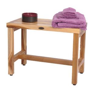 EcoDecors EarthyTeak Eleganto™ 24 inch Teak Shower Bench