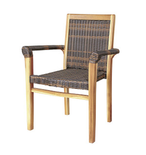 EcoDecors™ Indoor Outdoor Teak and Rattan Stacking Dining Chair