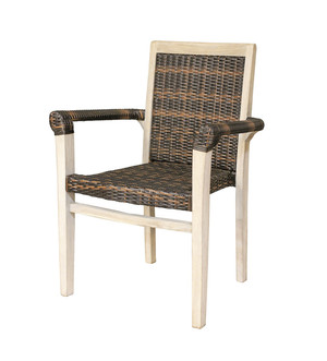 Coastal Vogue™ Indoor Outdoor Teak and Rattan Stacking Dining Chair