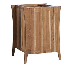 EcoDecors Curvature Natural 24 in Solid Teak Vanity in Natural Teak