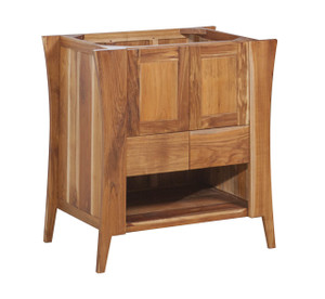 EcoDecors Curvature Natural 30 in Solid Teak Vanity in Natural Teak