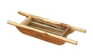 EcoDecors Solid Teak Bath Caddy in Natural Teak