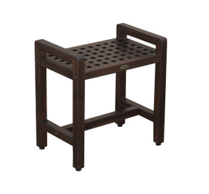 DecoTeak Espalier™ 20 inch Lattice Teak Shower Stool with Arms