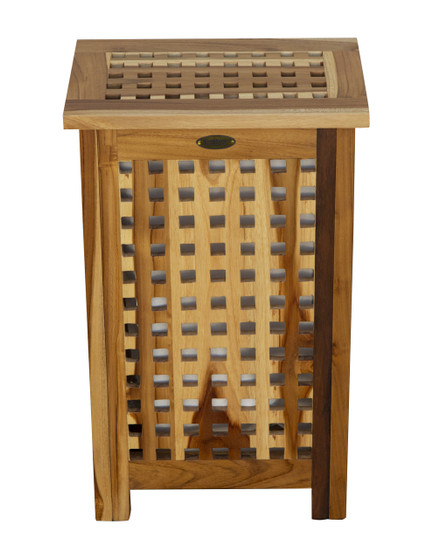 Pleasing Solid Teak Lattice Apartment Hamper With Laundry Bag Creativecarmelina Interior Chair Design Creativecarmelinacom