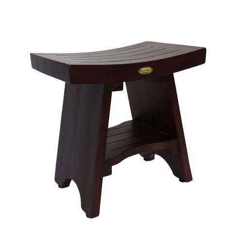 """DecoTeak Serenity 18"""" Teak Wood Fully Assembled Shower Bench with Shelf in Woodland Brown Finish"""