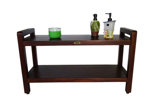 "DecoTeak Eleganto 35"" Teak Wood Shower Bench with LiftAide Arms and Shelf in Woodland Brown Finish"