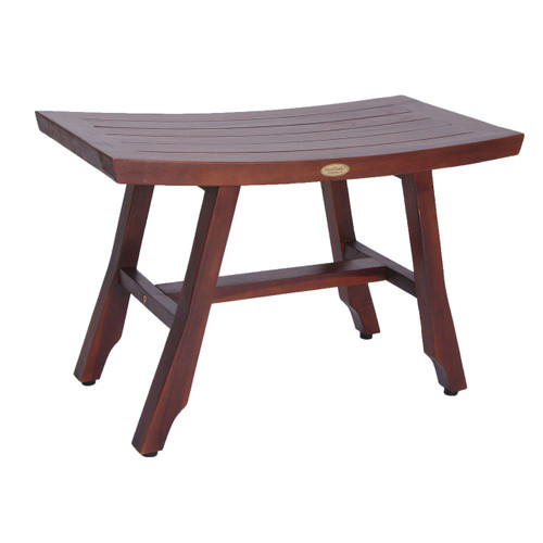"DecoTeak Satori 28"" Teak Wood Shower Bench in Woodland Brown Finish"