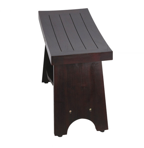 "DecoTeak Serenity 24"" Teak Wood Shower Bench with Shelf in Woodland Brown Finish"