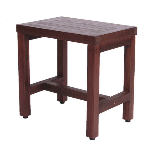 "DecoTeak Eleganto 18"" Teak Wood Shower Bench in Woodland Brown Finish"