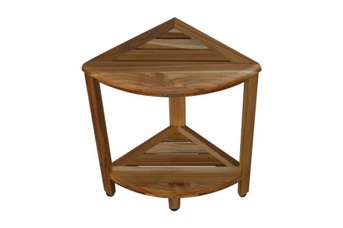 "EcoDecors SnazzyCorner 18"" Teak Wood Fully Assembled Corner Shower Bench with Shelf in EarthyTeak Finish"
