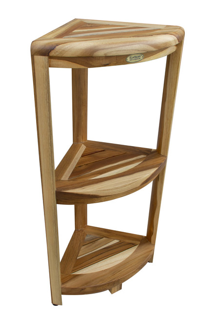 "EcoDecors  SnazzyCorner 32"" Teak Wood Fully Assembled 3-Tier Corner Shelf in EarthyTeak Finish"