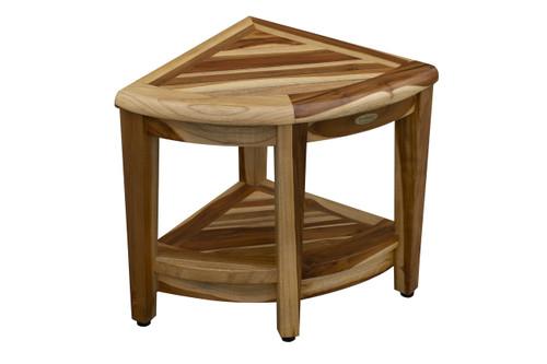 EarthyTeak Oasis™ Teak Corner Shower Bench With Shelf - Shower Sitting, Storage, Saving Foot Rest - FULLY ASSEMBLED