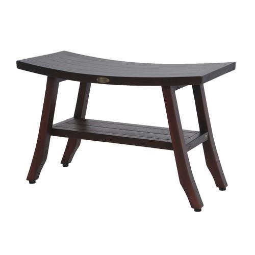 "DecoTeak Satori 28"" Teak Wood Shower Bench with Shelf in Woodland Brown Finish"