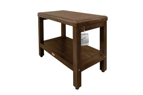 "DecoTeak Eleganto 24"" Teak Wood Shower Bench with Shelf in Woodland Brown Finish"