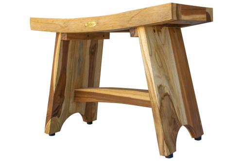 "EcoDecors Serenity 24"" Teak Wood Fully Assembled Shower Bench in EarthyTeak Finish"