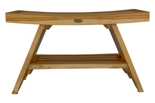 "EcoDecors Serenity 29"" Teak Wood Shower Bench with Shelf in EarthyTeak Finish"