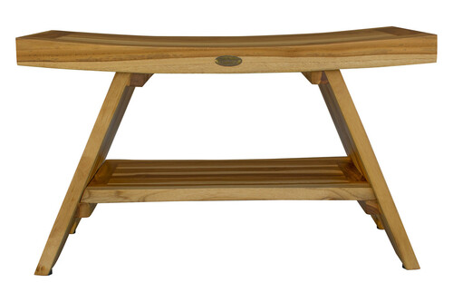 "EcoDecors Serenity 29"" Teak Wood Shower Bench with Shelf in EarthyTeak Finish"