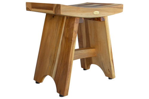 "EcoDecors Serenity 18"" Teak Wood Fully Assembled Shower Bench in EarthyTeak Finish"