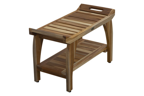 """EcoDecors Tranquility 29"""" Teak Wood Shower Bench with Shelf in EarthyTeak Finish"""