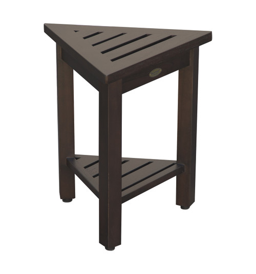 "DecoTeak FlexiCorner 17"" Teak Wood Triangular Stool with Shelf in Woodland Brown Finish"