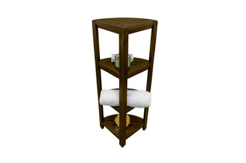 "DecoTeak SnazzyCorner 38"" Teak Wood Fully Assembled 4-Tier Corner Shelf in Woodland Brown Finish"