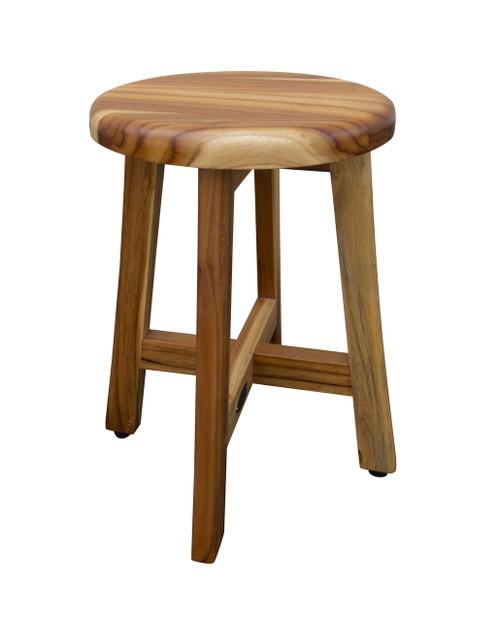 "EcoDecors Shoji 18"" Teak Wood Fully Assembled Shower Stool with 12"" Round Seat in EarthyTeak Finish"