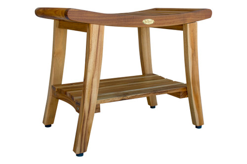 """EcoDecors Harmony 24"""" Teak Wood Shower Bench with Shelf and LiftAide Arms in EarthyTeak Finish"""