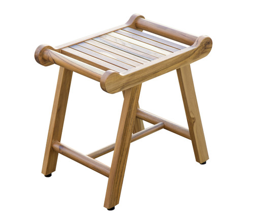 "EcoDecors Harmony 20"" Teak Wood Fully Assembled Shower Bench with LiftAide Arms in EarthyTeak Finish"